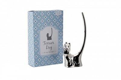 Silver Terrier Dog Ring Holder Ring Stand Ring Display Jewellery Stand