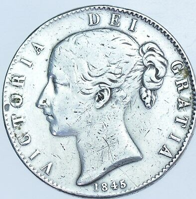 1845 Crown, Cinq Stops, British Silver Coin From Victoria Gf+