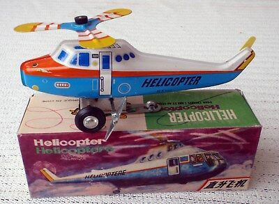 Vintage CHINA MS 126 Helicopter wind-up tin toy with box