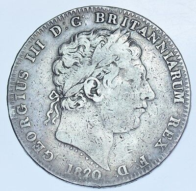 1820/19 LX CROWN, 22 OVER 19, BRITISH SILVER COIN FROM GEORGE IIII aVF