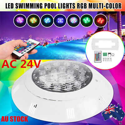 AU 2/3x 7Color 18W 24V LED RGB Underwater Swimming Pool Bright Light With Remote