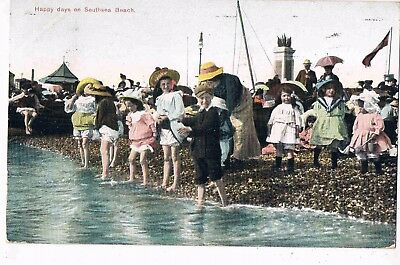 Hampshire - Cpc - Children Paddling, Happy Days On Southsea Beach, 1913