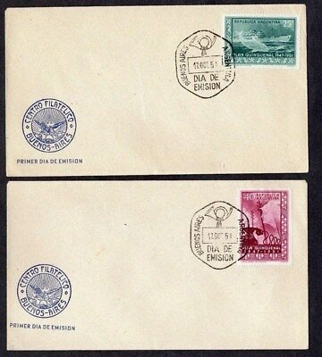 ARGENTINA.1951.FIVE YEAR PLAN COMMEM SET ON 4 x DIFF'T ILLUSTRATED FDC'S.