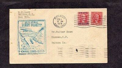 Canal Zone.1929.first Flight Cover.balboa-Cristobal-Miami-Bahamas.air Mail Stamp