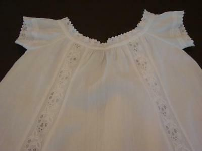 Antique Victorian Baby Christening Gown Dress Ayrshire Emb Eyelet Lace Exc Cond