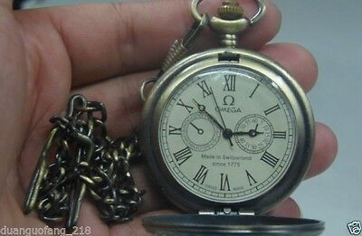 China rare antiques collection copper mechanical statue of old pocket watch