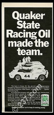 1969 Triumph Group 44 race car team photo Quaker State oil vintage print ad