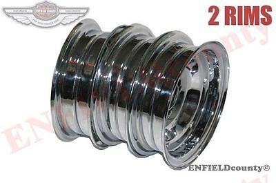 "Front Rear Wheel Rim Set Chrome Plated 3.50"" X 8"" Vbb Vlb Vna Vespa Scooter @cad"