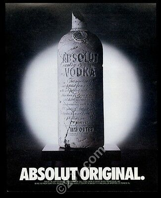 1988 Absolut Original sculpture vodka bottle photo vintage print ad