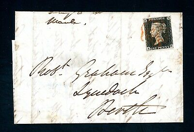 Great Britain 1840 (Aug)  Penny Black Cover E.L. to Perth Scotland   (O912)