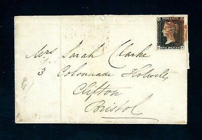 Great Britain 1841  Cover  Penny Black  London to Bristol Very Fine   (O913)