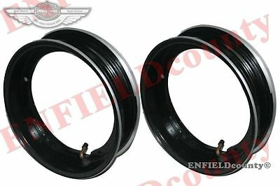 "Rim Units Pair 10"" Wheel Alloy Aluminium Black Tubeless Tyre Vespa Scooter @cad"