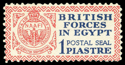 Egypt - British Forces 1p deep blue & red unused cat £95 ($128). SG A1. Sc M1.