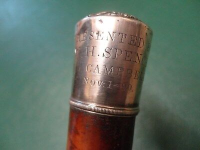 Huge Antique/vintage Silver Top Presentation Walking Stick/cane Nov 1890