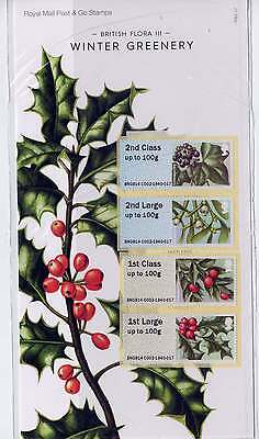 Gb 2014 Post & Go Stamps Winter Greenery Presentation Pack