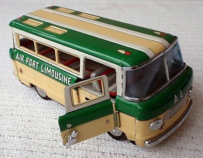 Vintage CHINA opening door Airport Limousine Bus friction tin toy