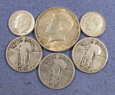 Lot 6 Us Silver Coins 1964 Kennedy Half Dollar 3 1926 Standing Liberty Quarters