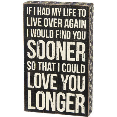 NEW Love You Longer Wood Box Sign - Weathered & Distressed w/ Decorative Borders