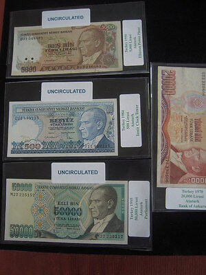 4 Turkey UNC Paper Currency LOT I