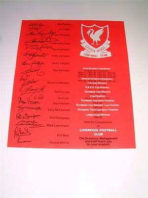 Liverpool FC 1981-82 ? rare official club sheet
