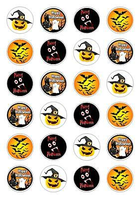 24 Halloween Cupcake Fairy Cake Toppers Edible Rice Wafer Paper Decorations