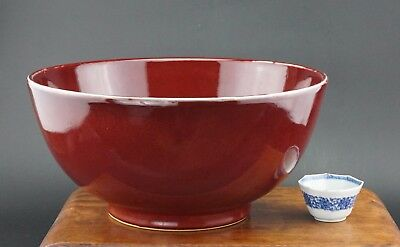HUGE Antique Chinese Porcelain Red Langyao Sang de Boeuf Ox Blood Punch Bowl