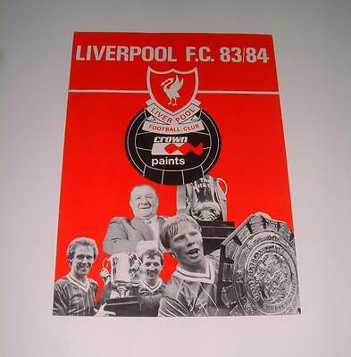 Liverpool FC 1983-84 rare official club sheet