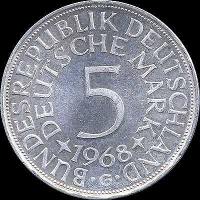 1968 'G' Germany 5 Mark Silver Coin (11.2 grams .625 Silver)