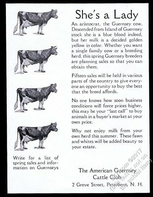 1932 Guernsey Cattle Club 4 cow photo vintage print ad