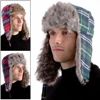 97c6c30e145 Mens Warm Checked Trapper Hat Faux Fur Trim & Ear Flaps In Green Red  Burgundy