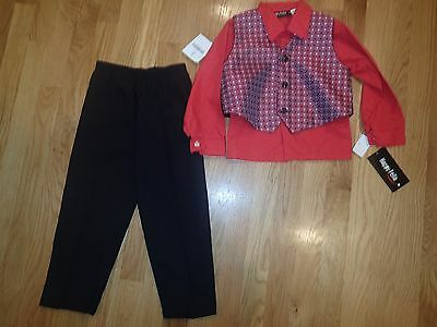 NWT Happy Fella Boy Black Suit Pant Red Shirt Top and Vest Preppy Size 4t CUte!!