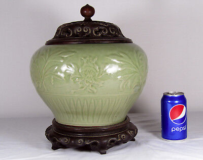 Chinese Ming Dynasty Celadon Jar, Carved Wood Cover And Stand