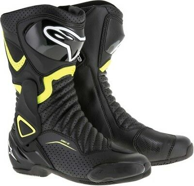 Alpinestars SMX-6 V2 Mens Vented Leather Boots Black/Yellow