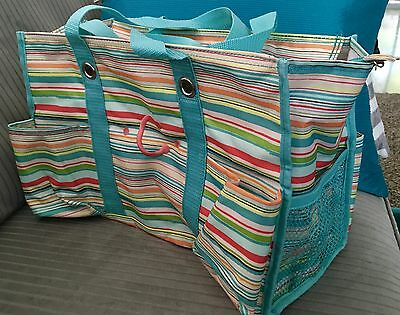 """Thirty One Utility Organizer Zip Top Diaper Tote Sunny Stripe Embroidered """"C"""""""