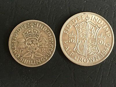 George VI : 1939 Florin & 1940 Half-Crown (Ref:C)