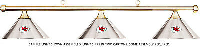 NFL Kansas City Chiefs Chrome Metal Shade & Brass Bar Billiard Pool Table Light