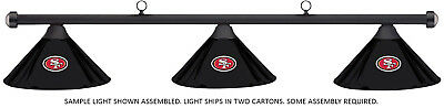NFL San Francisco 49ers Black Metal Shade & Black Bar Billiard Pool Table Light