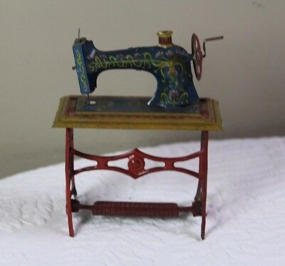Vintage German Tin Litho  Penny Sewing Machine Tin Toy