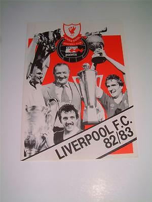 Liverpool FC 1982-83 rare official club sheet