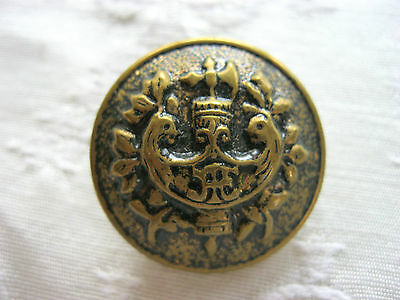 Big Large Domed Metal Brass Picture Button Regal Birds Royal Crest