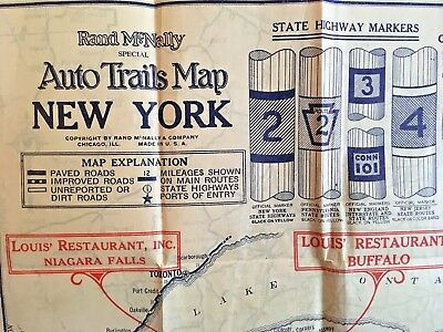 Map Of New York And Ohio.New York Ohio Automobile Road Map With Motor Routes To Buffalo N Y 1920s Vg