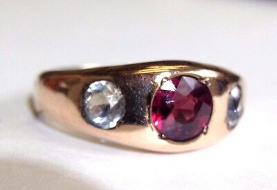Antique Victorian 3 Stone Garnet White Sapphire Men's Gold Filled Ring Size 9.5