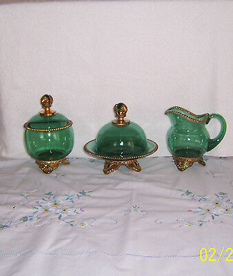 Eapg Glass Emerald Green  Sugar Creamer & Butter Dish