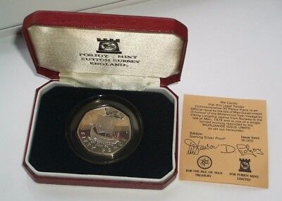 UNC SILVER 1979 ISLE OF MAN VIKING SHIP 50p COIN IN CASE WITH CoA - IoM MANX
