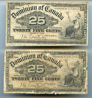 Canada ~ 1900 ~ 25 Cent Fractional Note ~Courtney ~ Vg-F ~ (2 Notes)