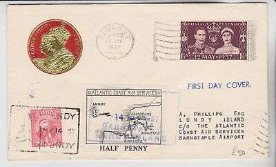 Gb Stamps 1937 Coronation Lundy Airmail First Day Cover From Rare Collection