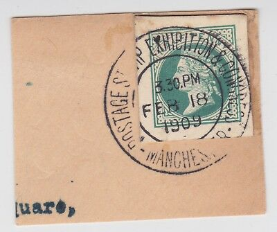 Gb Stamps 1909 Manchester Philatelic Congress Postmark On Piece From Collection