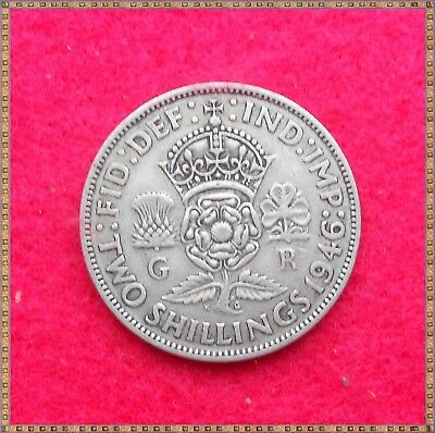1946 George Vi Silver Florin/ Two Shillings (2/-) Coin.