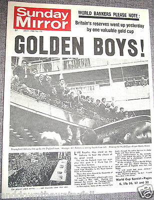 ENGLAND World Cup Winners 1966 Newspaper Wembley Sports Daily Mirror History UK