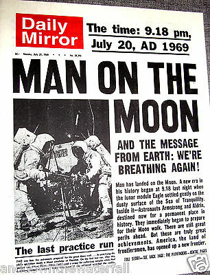 1969 Newspaper Moon Landing Neil Armstrong Sci Fi NASA Space Exploration Old UK